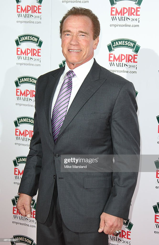 <a gi-track='captionPersonalityLinkClicked' href=/galleries/search?phrase=Arnold+Schwarzenegger&family=editorial&specificpeople=156406 ng-click='$event.stopPropagation()'>Arnold Schwarzenegger</a> attends the Jameson Empire Film Awards at Grosvenor House, on March 30, 2014 in London, England.