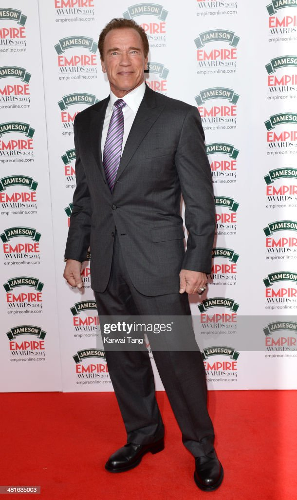 <a gi-track='captionPersonalityLinkClicked' href=/galleries/search?phrase=Arnold+Schwarzenegger&family=editorial&specificpeople=156406 ng-click='$event.stopPropagation()'>Arnold Schwarzenegger</a> attends the Jameson Empire Film Awards at Grosvenor House on March 30, 2014 in London, England.
