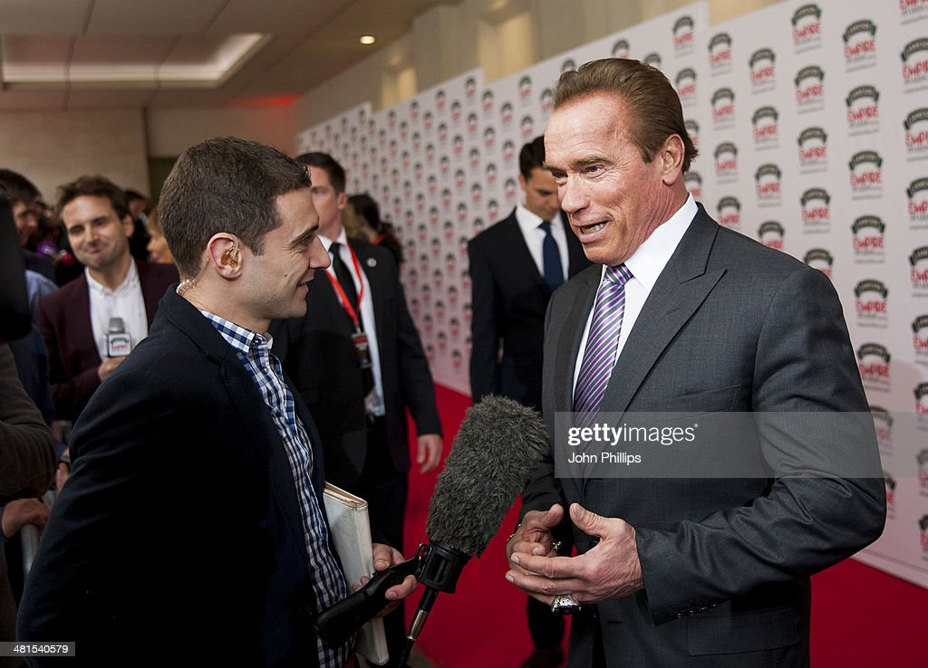 Arnold Schwarzenegger attends the Jameson Empire Film Awards at The Grosvenor House Hotel on March 30, 2014 in London, England.