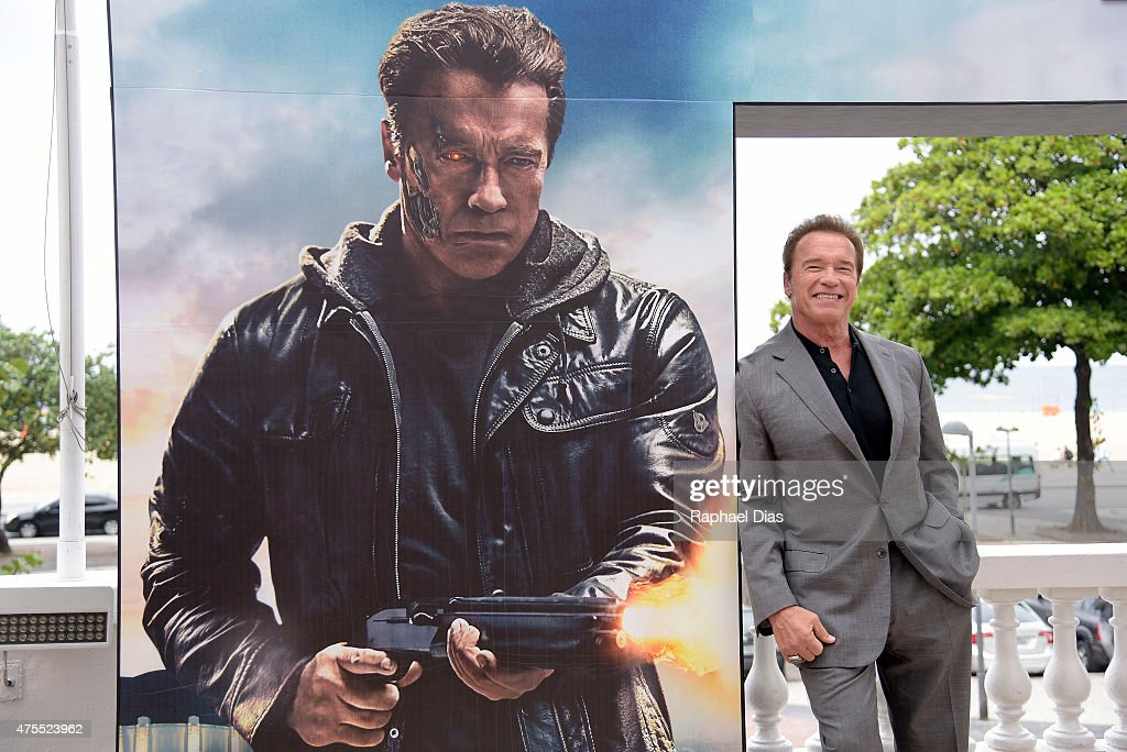 <a gi-track='captionPersonalityLinkClicked' href=/galleries/search?phrase=Arnold+Schwarzenegger&family=editorial&specificpeople=156406 ng-click='$event.stopPropagation()'>Arnold Schwarzenegger</a> attends the photocall for Paramount Pictures 'Terminator Genisys' at the Copacabana Palace Hotel on June 1, 2015 in Rio de Janeiro, Brazil.