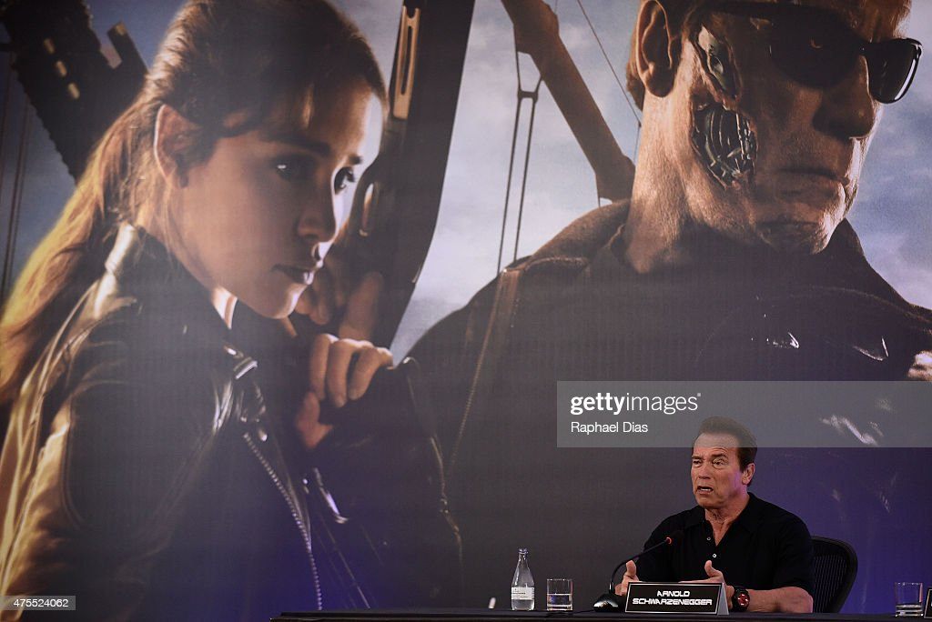 Arnold Schwarzenegger attends the press conference for Paramount Pictures 'Terminator Genisys' at the Copacabana Palace Hotel on June 1, 2015 in Rio de Janeiro, Brazil.