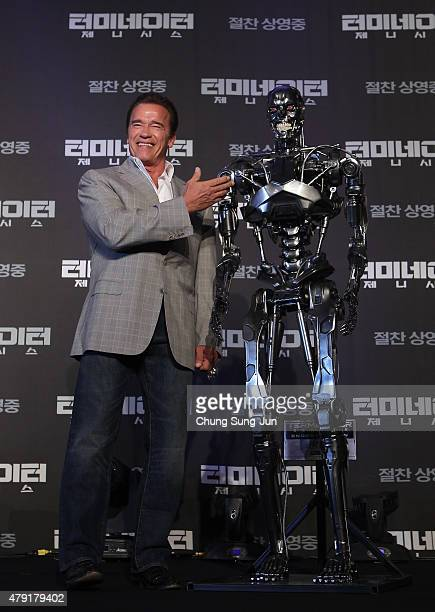 Arnold Schwarzenegger attends the Seoul Press Conference of 'Terminator Genisys' at the Ritz Carlton Hotel on July 2 2015 in Seoul South Korea