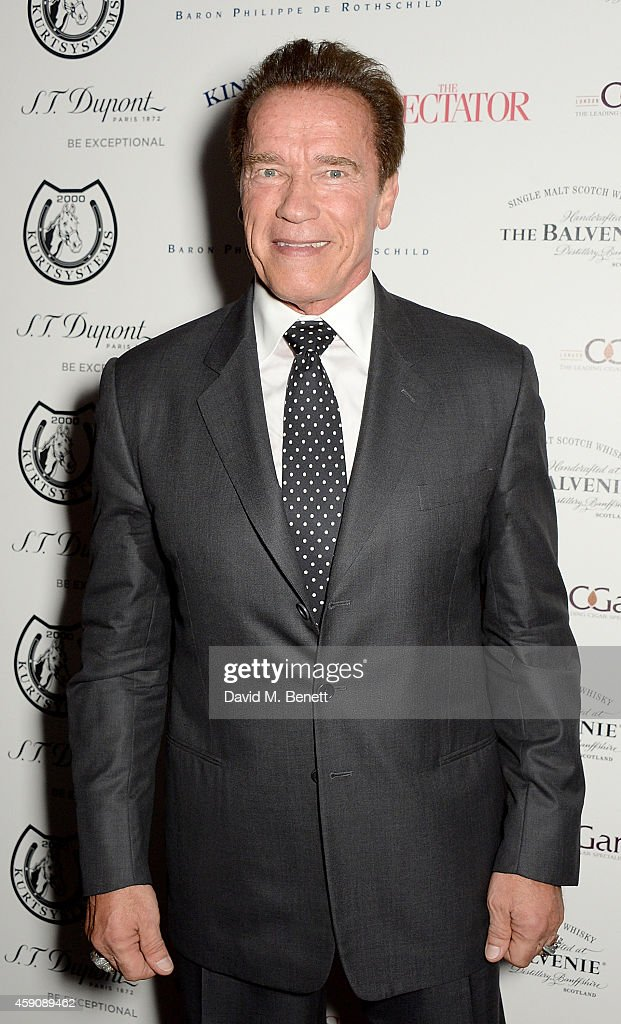 <a gi-track='captionPersonalityLinkClicked' href=/galleries/search?phrase=Arnold+Schwarzenegger&family=editorial&specificpeople=156406 ng-click='$event.stopPropagation()'>Arnold Schwarzenegger</a> attends The Spectator Cigar Awards Dinner 2014, sponsored by Mehmet Kurt of Kingwood Stud, founded by Boisdale at Boisdale on November 16, 2014 in London, England.