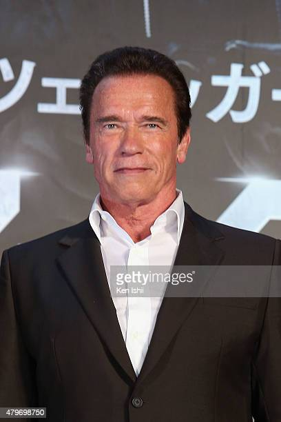 Arnold Schwarzenegger attends the Tokyo Premiere of 'Terminator Genisys' at the Roppongi Hills Arena on July 6 2015 in Tokyo Japan