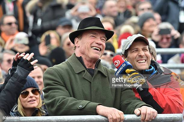 Arnold Schwarzenegger during the Hahnenkamm race on January 23 2016 in Kitzbuehel Austria