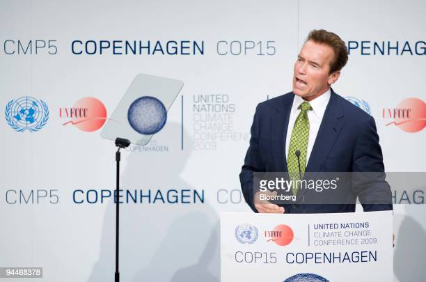 Arnold Schwarzenegger governor of California speaks at the COP15 United Nations Climate Change Conference held at the Bella Centre in Copenhagen...