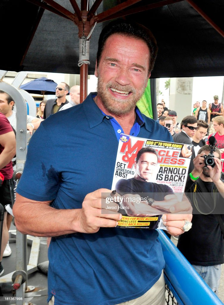 <a gi-track='captionPersonalityLinkClicked' href=/galleries/search?phrase=Arnold+Schwarzenegger&family=editorial&specificpeople=156406 ng-click='$event.stopPropagation()'>Arnold Schwarzenegger</a> hosts a special body building experience at the famed Muscle Beach Venice to celebrate the launch of the Arnold Series, an exclusive line of new nutritional supplements developed by Schwarzenegger and MusclePharm on September 20, 2013 in Venice, California.