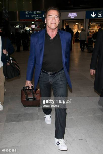 Arnold Schwarzenegger is seen at CharlesdeGaulle airport on April 28 2017 in Paris France