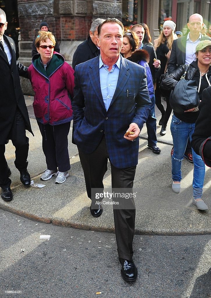 <a gi-track='captionPersonalityLinkClicked' href=/galleries/search?phrase=Arnold+Schwarzenegger&family=editorial&specificpeople=156406 ng-click='$event.stopPropagation()'>Arnold Schwarzenegger</a> is seen in Soho at Streets of Manhattan on December 20, 2012 in New York City.