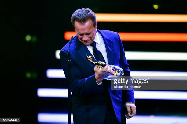 Arnold Schwarzenegger is seen on stage during the Bambi Awards 2017 show at Stage Theater on November 16 2017 in Berlin Germany