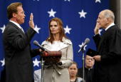 Arnold Schwarzenegger is sworn in as California's 38th governor by California Chief Justice Ronald George during a ceremony at the State Capitol...