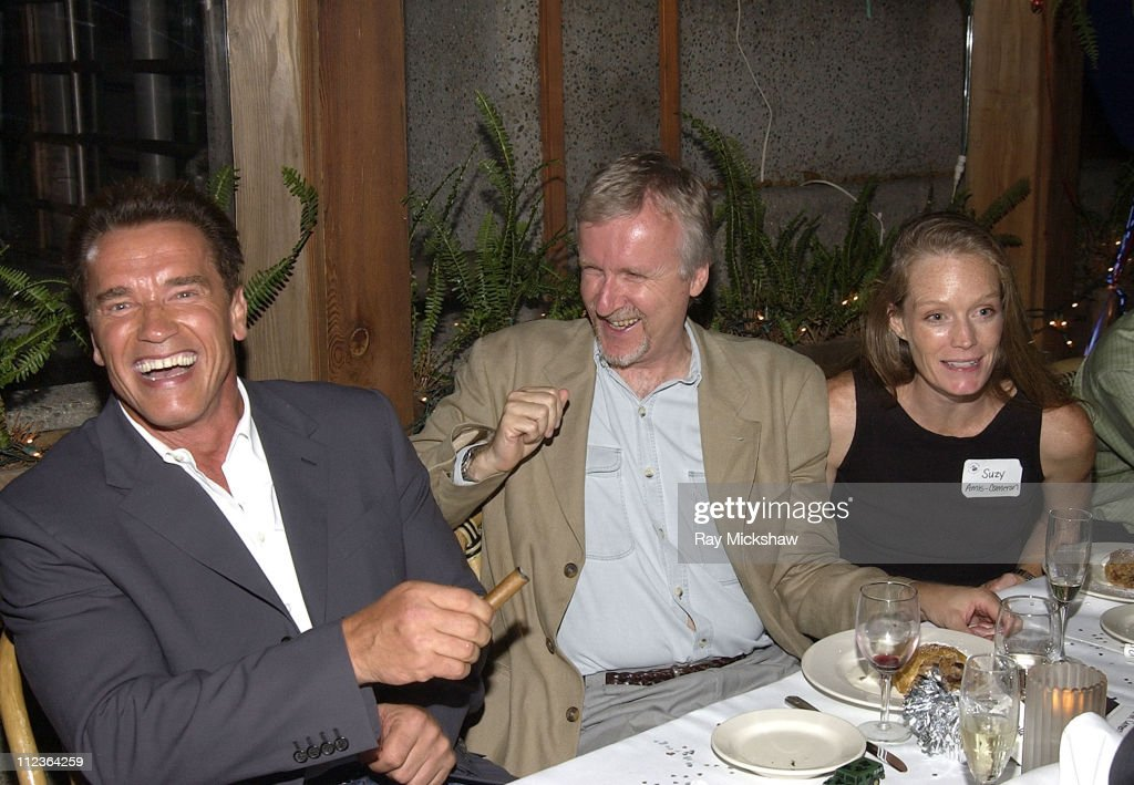 <a gi-track='captionPersonalityLinkClicked' href=/galleries/search?phrase=Arnold+Schwarzenegger&family=editorial&specificpeople=156406 ng-click='$event.stopPropagation()'>Arnold Schwarzenegger</a>, <a gi-track='captionPersonalityLinkClicked' href=/galleries/search?phrase=James+Cameron&family=editorial&specificpeople=206399 ng-click='$event.stopPropagation()'>James Cameron</a> & <a gi-track='captionPersonalityLinkClicked' href=/galleries/search?phrase=Suzy+Amis&family=editorial&specificpeople=790397 ng-click='$event.stopPropagation()'>Suzy Amis</a> during <a gi-track='captionPersonalityLinkClicked' href=/galleries/search?phrase=Arnold+Schwarzenegger&family=editorial&specificpeople=156406 ng-click='$event.stopPropagation()'>Arnold Schwarzenegger</a> Celebrates his 55th Birthday and Raises Funds for the After School Education and Safety Program Act at Schatzi on Main Restaurant in Santa Monica, California, United States.