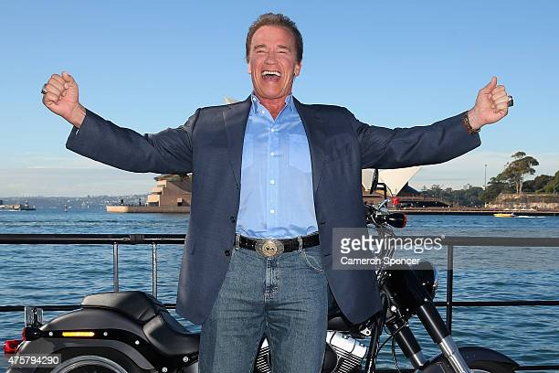 Arnold Schwarzenegger poses during a 'Terminator Genisys' photo call at the Park Hyatt Sydney on June 4 2015 in Sydney Australia