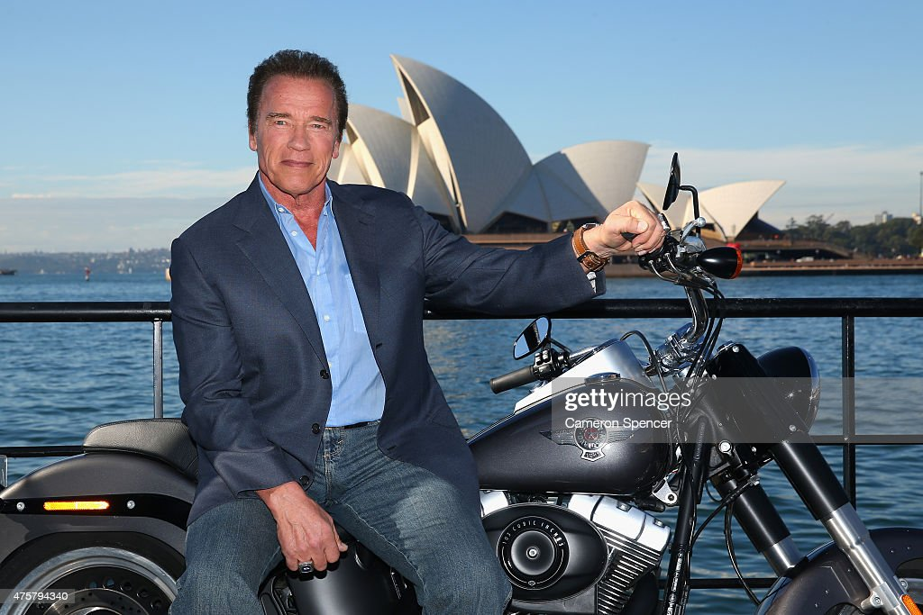 Arnold Schwarzenegger poses during a 'Terminator Genisys' photo call at the Park Hyatt Sydney on June 4, 2015 in Sydney, Australia.