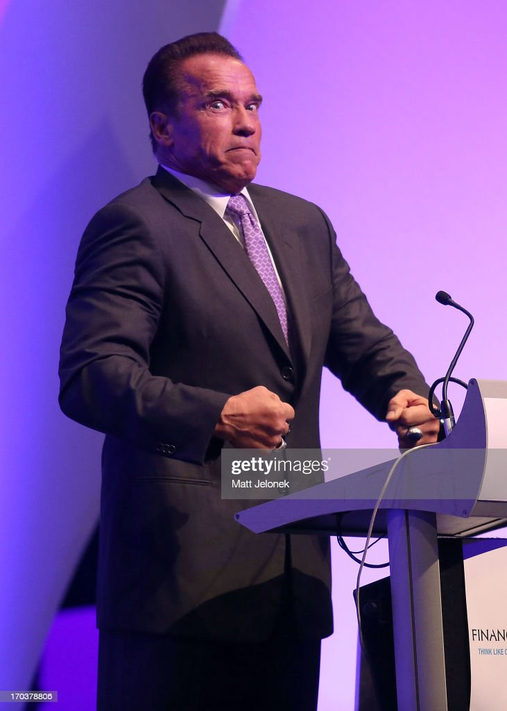 <a gi-track='captionPersonalityLinkClicked' href=/galleries/search?phrase=Arnold+Schwarzenegger&family=editorial&specificpeople=156406 ng-click='$event.stopPropagation()'>Arnold Schwarzenegger</a> speaks about Australian body builders at the 2013 Financial Education Sumit on June 12, 2013 in Perth, Australia.