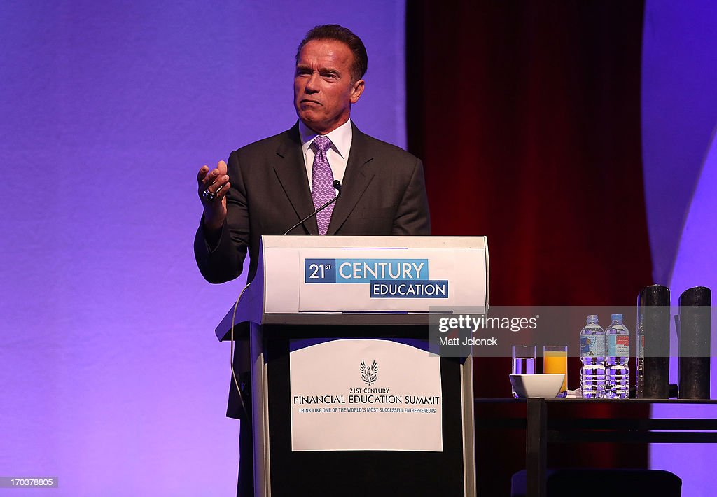 <a gi-track='captionPersonalityLinkClicked' href=/galleries/search?phrase=Arnold+Schwarzenegger&family=editorial&specificpeople=156406 ng-click='$event.stopPropagation()'>Arnold Schwarzenegger</a> speaks at the 2013 Financial Education Sumit on June 12, 2013 in Perth, Australia.