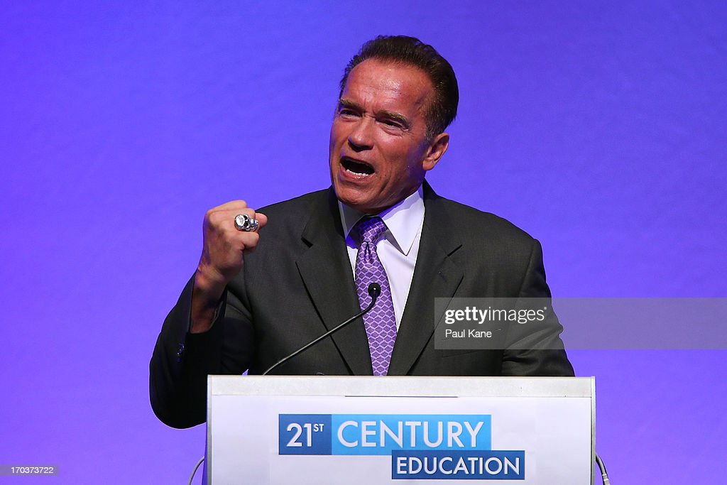 Arnold Schwarzenegger speaks at the 2013 Financial Education Summit at the Perth Convention and Exhibition Centre on June 12, 2013 in Perth, Australia.