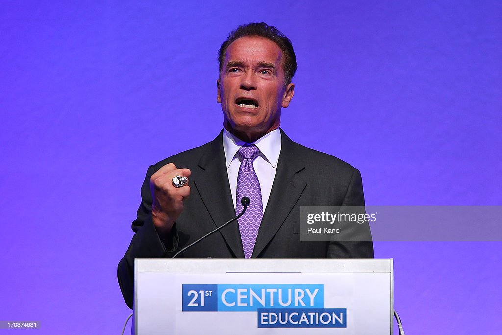 <a gi-track='captionPersonalityLinkClicked' href=/galleries/search?phrase=Arnold+Schwarzenegger&family=editorial&specificpeople=156406 ng-click='$event.stopPropagation()'>Arnold Schwarzenegger</a> speaks at the 2013 Financial Education Summit at the Perth Convention and Exhibition Centre on June 12, 2013 in Perth, Australia.