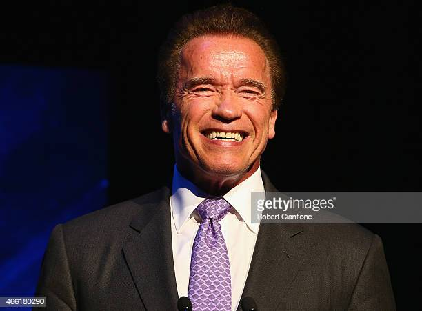 Arnold Schwarzenegger speaks on stage during the Arnold Classic Australia at The Melbourne Convention and Exhibition Centre on March 14 2015 in...