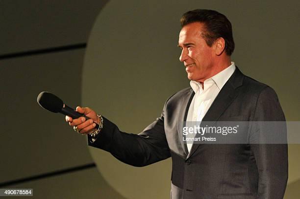 Arnold Schwarzenegger speaks onstage during 'A conversation with' Event during the Zurich Film Festival on September 30 2015 in Zurich Switzerland...