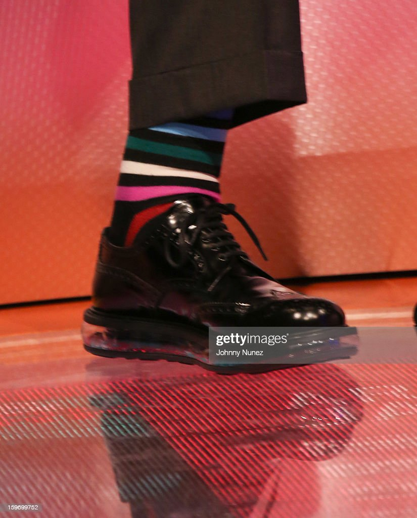 Arnold Schwarzenegger (shoe detail) visits BET's '106 & Park' at BET Studios on January 17, 2013 in New York City.