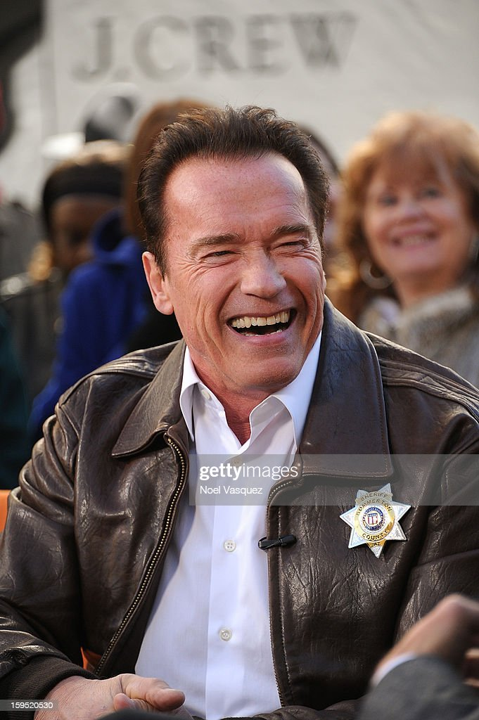 <a gi-track='captionPersonalityLinkClicked' href=/galleries/search?phrase=Arnold+Schwarzenegger&family=editorial&specificpeople=156406 ng-click='$event.stopPropagation()'>Arnold Schwarzenegger</a> visits Extra at The Grove on January 14, 2013 in Los Angeles, California.