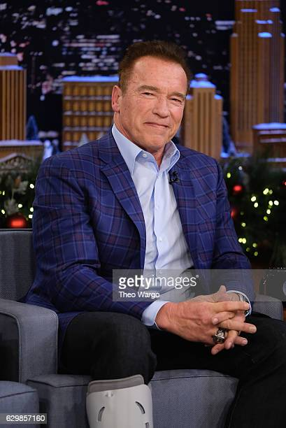 Arnold Schwarzenegger Visits 'The Tonight Show Starring Jimmy Fallon' at Rockefeller Center on December 14 2016 in New York City