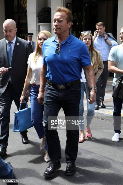 Arnold Schwazenegger leaves his hotel on June 23 2017 in Paris France