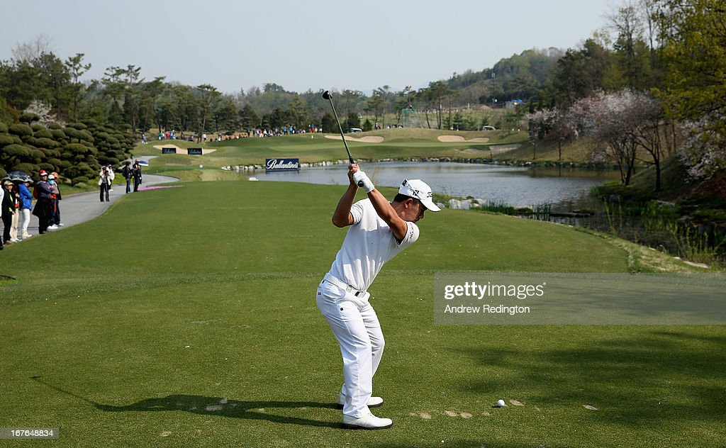 Arnond Vongvanij of Thailand in action during the third round of the Ballantine's Championship at Blackstone Golf Club on April 27, 2013 in Icheon, South Korea.