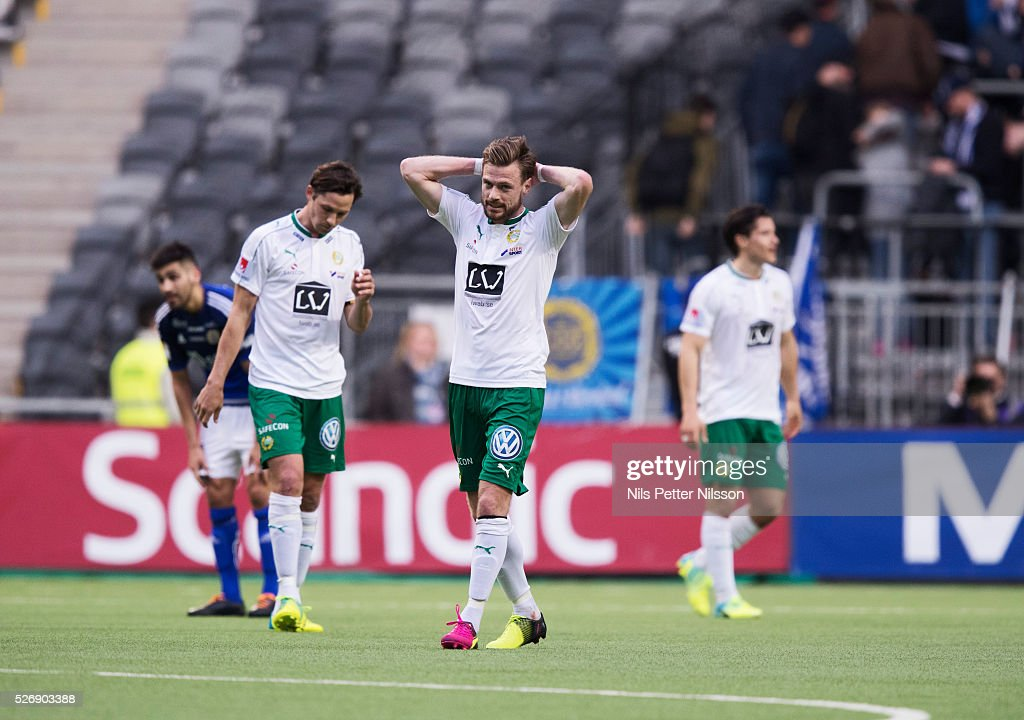 Arnor Smarason of Hammarby IF dejected after the Allsvenskan match between Hammarby IF and GIF Sundsvall at Tele2 Arena on May 1, 2016 in Stockholm, Sweden.