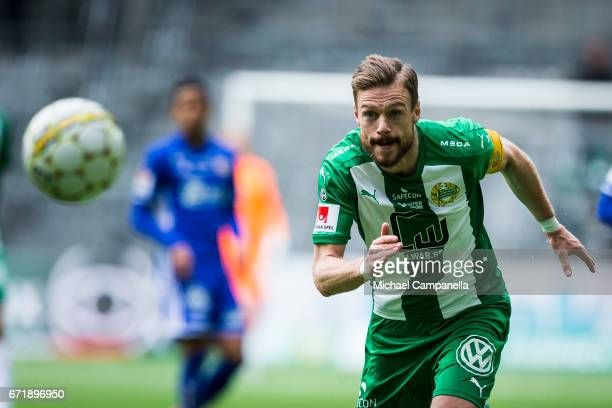Arnor Smarason of Hammarby IF during an Allsvenskan match between Hammarby IF and GIF Sundsvall at Tele2 Arena on April 23 2017 in Stockholm Sweden