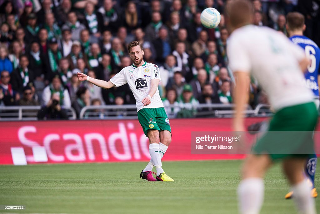 Arnor Smarason of Hammarby IF during the Allsvenskan match between Hammarby IF and GIF Sundsvall at Tele2 Arena on May 1, 2016 in Stockholm, Sweden.