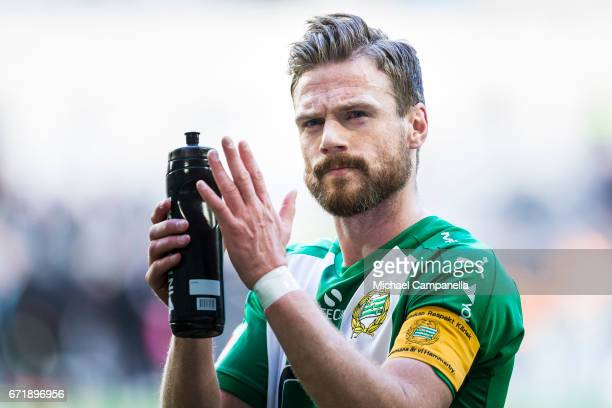 Arnor Smarason of Hammarby IF thanks the fans for their support during an Allsvenskan match between Hammarby IF and GIF Sundsvall at Tele2 Arena on...