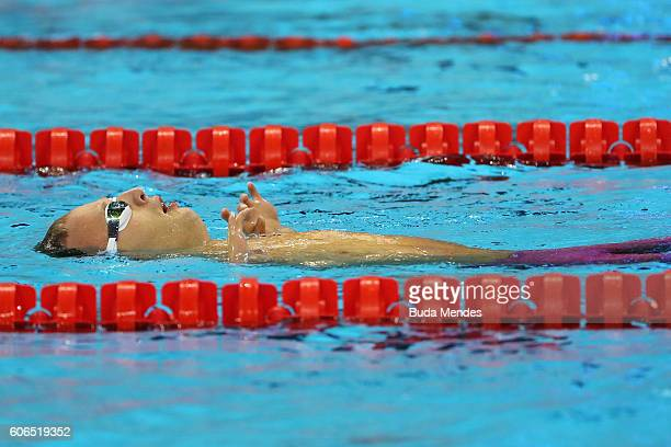 Arnost Petracek of the Czech Republic celebrates winning the gold medal in the Men's 50m Backstroke S4 Final on day 9 of the Rio 2016 Paralympic...
