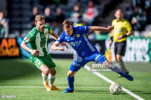 Arnór Smárason of Hammarby IF and Eric Larsson of GIF Sundsvall during the Allsvenskan match between Hammarby IF and GIF Sundsvall at Tele2 Arena on...