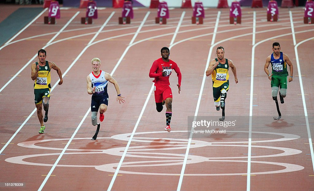 Arnu Fourie of South Africa Jonnie Peacock of Great Britain Richard Browne of the United States Oscar Pistorius of South Africa and Alan Fonteles...
