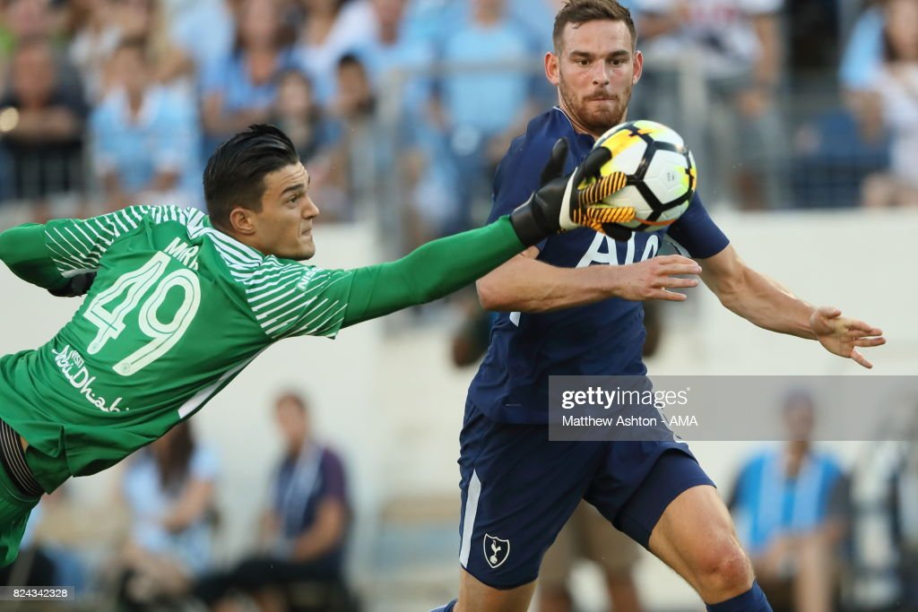 Aro Muric of Manchester City saves from Vincent Janssen of Tottenham Hotspur during the International Champions Cup 2017 match between Manchester City and Tottenham Hotspur at Nissan Stadium on July 29, 2017 in Nashville, Tennessee.
