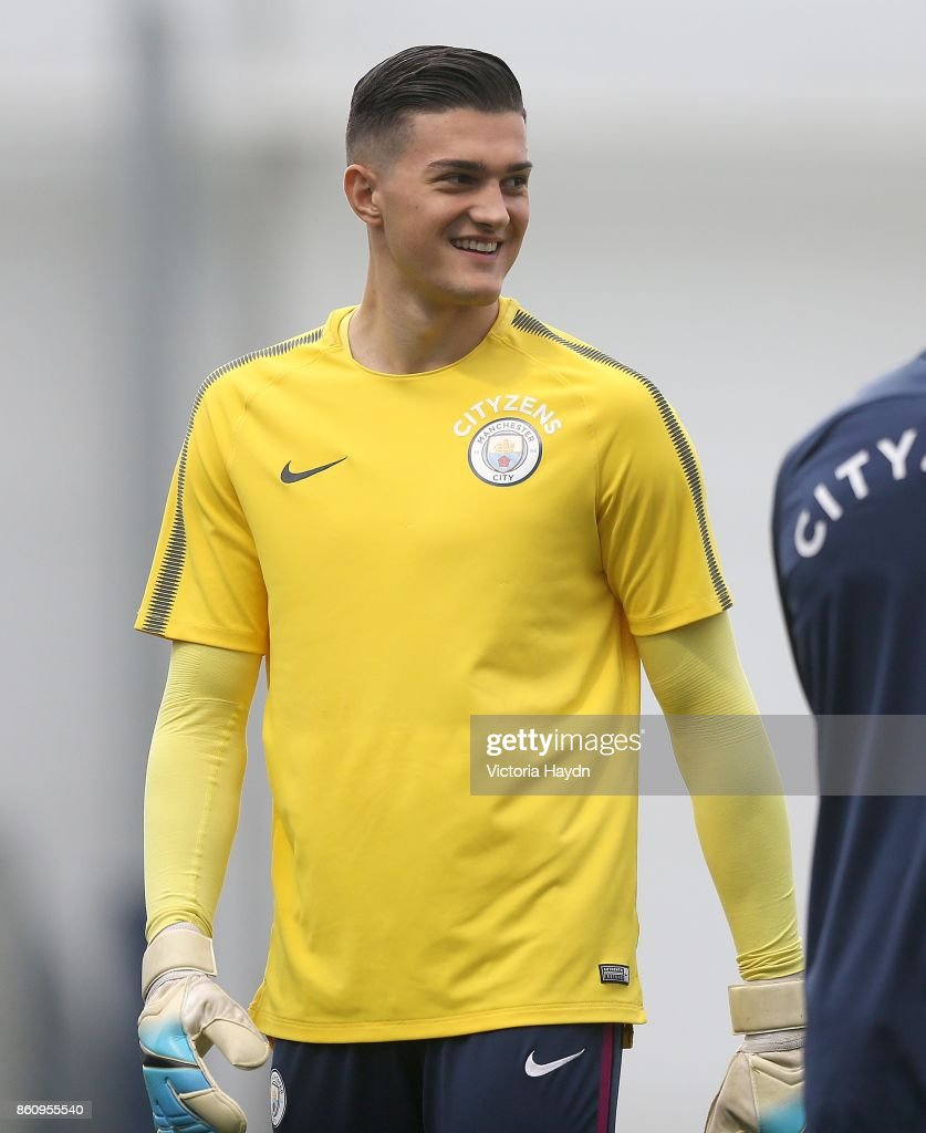 Aro Muric smiling duirng training at Manchester City Football Academy on October 13, 2017 in Manchester, England.
