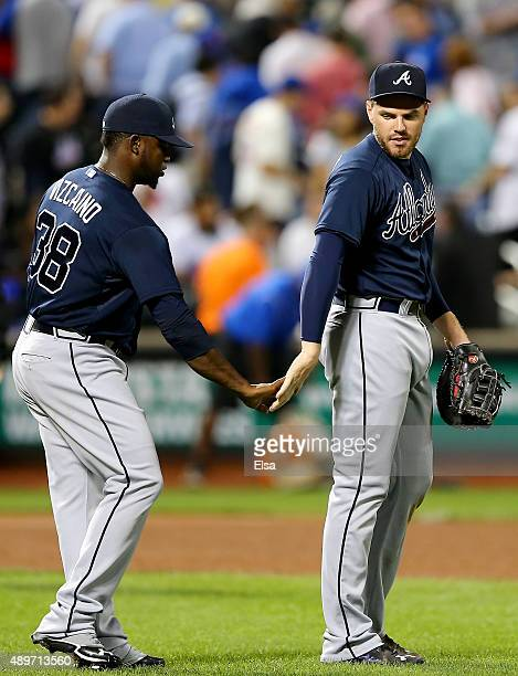 Arodys Vizcaino and Freddie Freeman of the Atlanta Braves celebrate the 63 win over the New York Mets on September 23 2015 at Citi Field in the...
