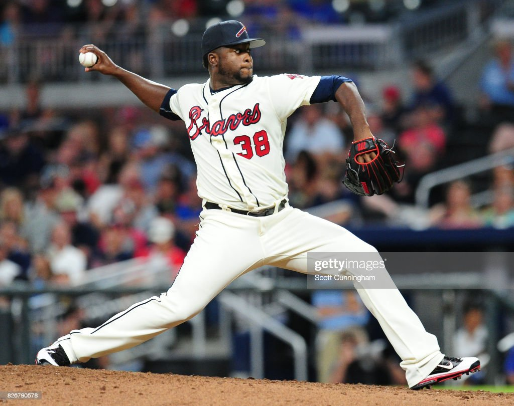 Arodys Vizcaino #38 of the Atlanta Braves throws a ninth inning pitch against the Miami Marlins at SunTrust Park on August 5, 2017 in Atlanta, Georgia.