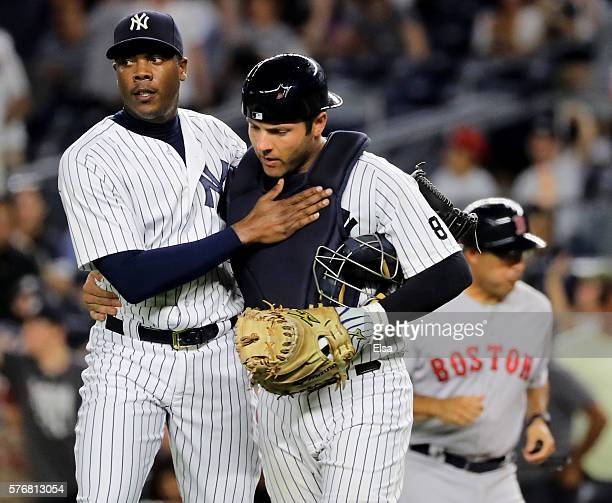 Aroldis Chapman and Austin Romine of the New York Yankees celebrate the 31 win over the Boston Red Sox at Yankee Stadium on July 17 2016 in the Bronx...
