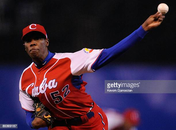 Aroldis Chapman of Cuba pitches against Australia during the first inning of the game during the 2009 World Baseball Classic Pool B match on March 10...