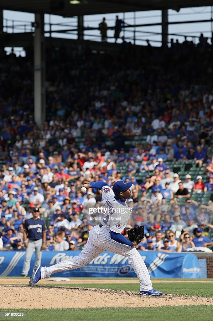 Aroldis Chapman #54 of the Chicago Cubs pitches in the 9th inning against the Milwaukee Brewers at Wrigley Field on August 18, 2016 in Chicago, Illinois. The Cubs defeated the Brewers 9-6.