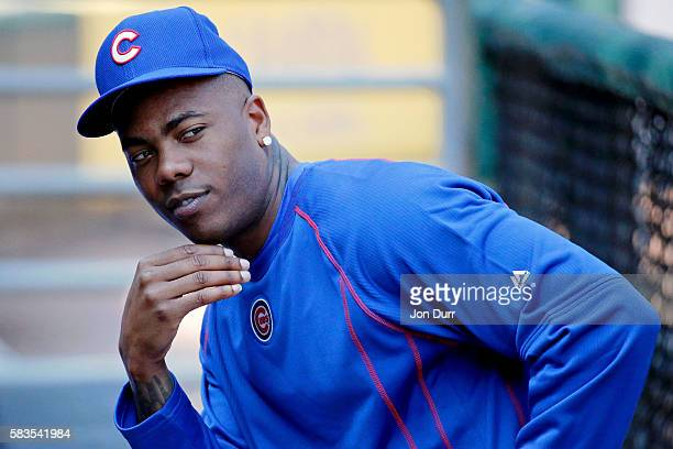 Aroldis Chapman of the Chicago Cubs sits in the dugout before the game against the Chicago White Sox at US Cellular Field on July 26 2016 in Chicago...
