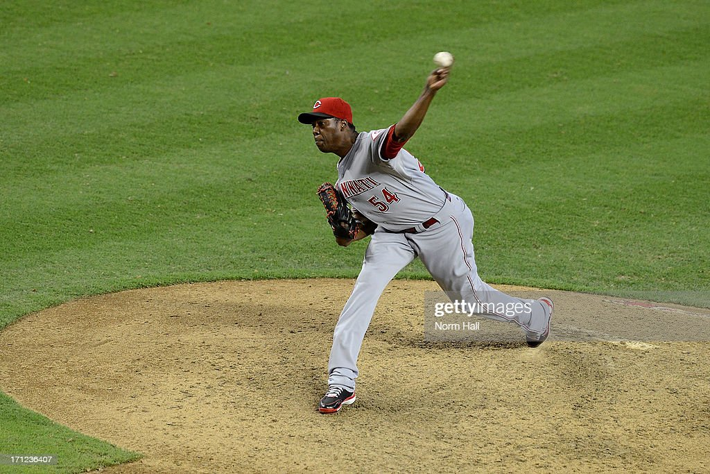 <a gi-track='captionPersonalityLinkClicked' href=/galleries/search?phrase=Aroldis+Chapman&family=editorial&specificpeople=5753195 ng-click='$event.stopPropagation()'>Aroldis Chapman</a> #54 of the Cincinnati Reds delivers a pitch against the Arizona Diamondbacks at Chase Field on June 23, 2013 in Phoenix, Arizona. The Reds won 4-2.