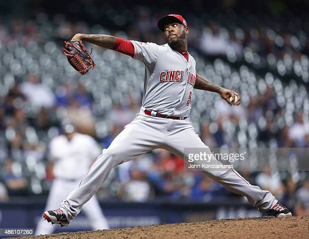 Aroldis Chapman of the Cincinnati Reds delivers a pitch during the ninth inning at Miller Park on August 29 2015 in Milwaukee Wisconsin The Reds...