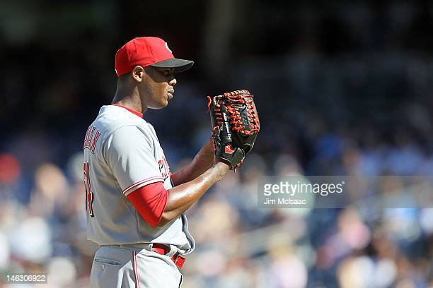 Aroldis Chapman of the Cincinnati Reds in action against the New York Yankees at Yankee Stadium on May 20 2012 in the Bronx borough of New York City...
