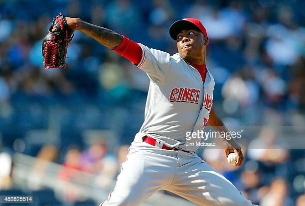 Aroldis Chapman of the Cincinnati Reds in action against the New York Yankees at Yankee Stadium on July 20 2014 in the Bronx borough of New York City...