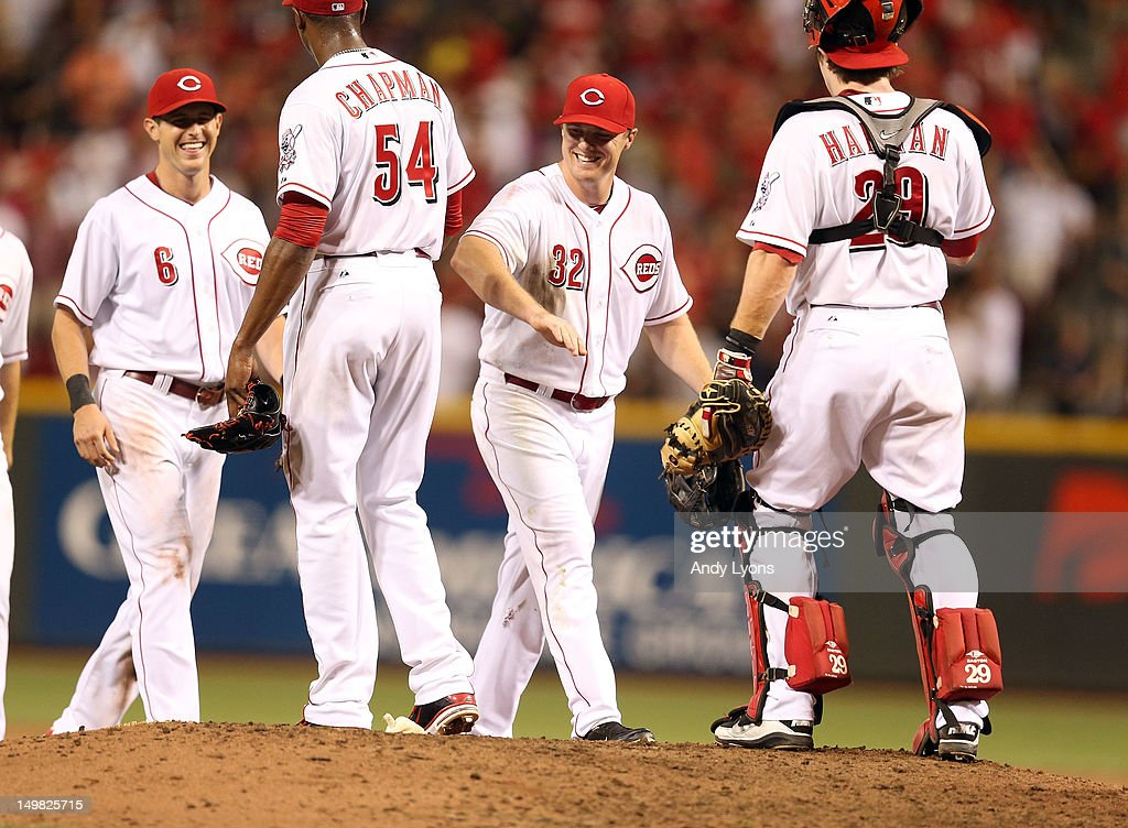 <a gi-track='captionPersonalityLinkClicked' href=/galleries/search?phrase=Aroldis+Chapman&family=editorial&specificpeople=5753195 ng-click='$event.stopPropagation()'>Aroldis Chapman</a> #54 of the Cincinnati Reds is congratulated <a gi-track='captionPersonalityLinkClicked' href=/galleries/search?phrase=Jay+Bruce&family=editorial&specificpeople=4391540 ng-click='$event.stopPropagation()'>Jay Bruce</a> #32 after the final out of the 5-4 win over the Pittsburgh Pirates at Great American Ball Park on August 4, 2012 in Cincinnati, Ohio.