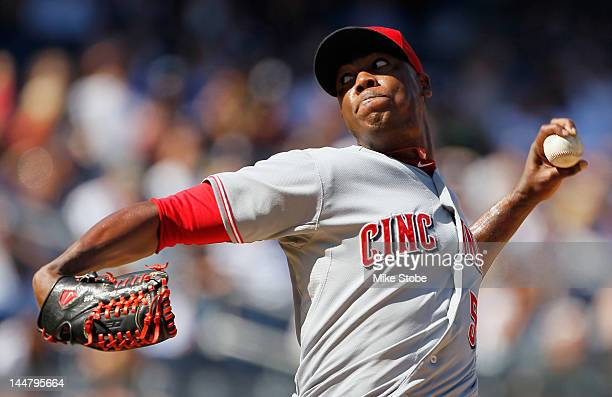 Aroldis Chapman of the Cincinnati Reds piches against the New York Yankees at Yankee Stadium on May 19 2012 in the Bronx borough of New York City...
